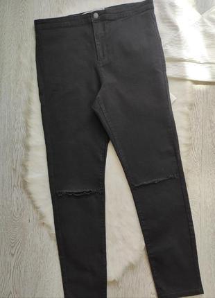 Черные джинсы скинни с разрезами дырками на коленях высокая талия посадка стрейч батал2 фото