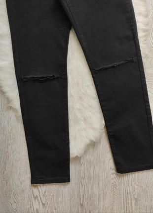 Черные джинсы скинни с разрезами дырками на коленях высокая талия посадка стрейч батал4 фото