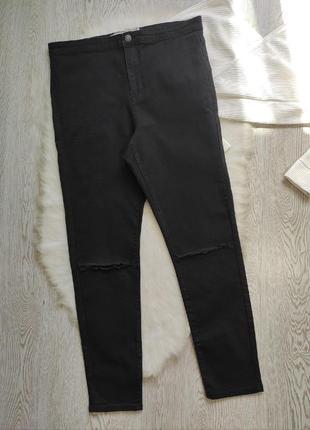Черные джинсы скинни с разрезами дырками на коленях высокая талия посадка стрейч батал