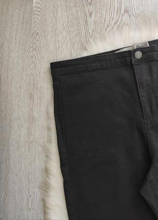 Черные джинсы скинни с разрезами дырками на коленях высокая талия посадка стрейч батал5 фото