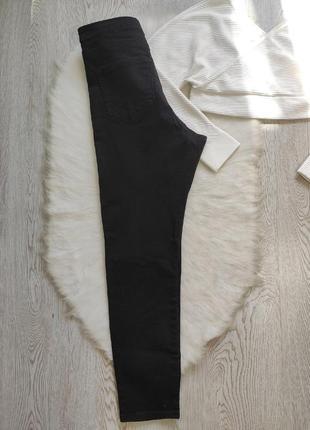 Черные джинсы скинни с разрезами дырками на коленях высокая талия посадка стрейч батал7 фото