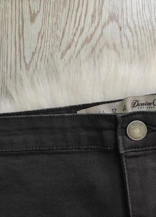 Черные джинсы скинни с разрезами дырками на коленях высокая талия посадка стрейч батал6 фото