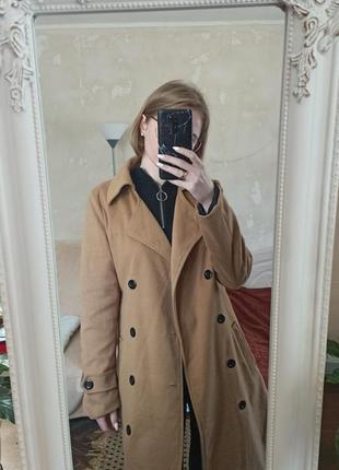 Бежевый тренч коричневое пальто лёгкое пальто