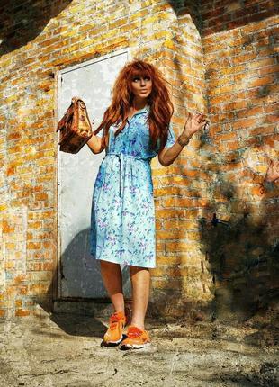 Винтажное платье миди ретро в принт цветы с карманами пояс