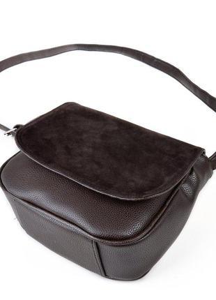 Коричневая замшевая женская сумочка через плечо кроссбоди