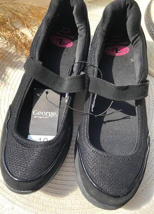 Чёрные женские мокасины на липуче от george 40 размер