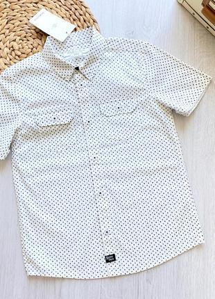 Стильная хлопковая рубашка с коротким рукавом для мальчика piazza italia италия