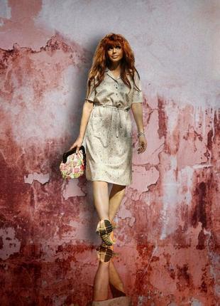 Винтажное ретро платье миди с карманами пояс в принт