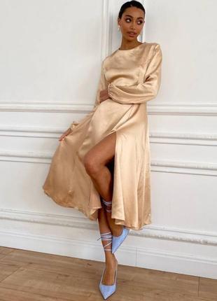 💛нереально красивое шелковое платье  миди с разрезом  с длинным  рукавом  золотое