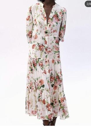 Платье миди длинное платье рубашка в цветочный принт zara оригинал