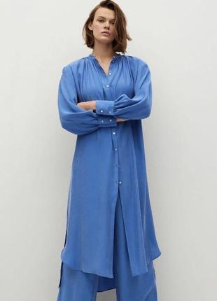 Платье рубашка миди длинное голубое свободного кроя mango оригинал