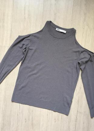 Базовая кофточка футболка длинный рукав открытые плечи зара