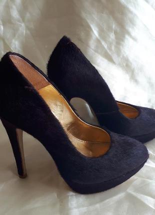 Кожаные туфли из пони винного цвета topshop
