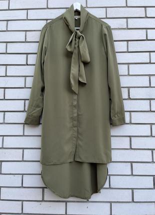 Платье-рубашка,туника-халат,удлиненное по спинке,бант,хаки,cameo rosa