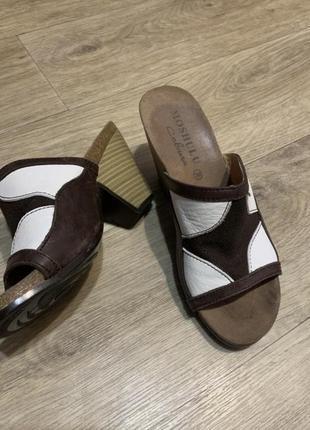 Комфортные шлёпанцы сабо на каблуке