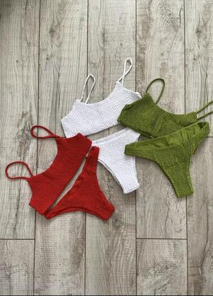 Стильный купальник из жатой ткани, ткань жатка, в рубчик, жатый стиль5 фото