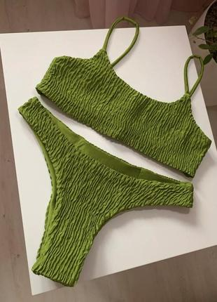 Стильный купальник из жатой ткани, ткань жатка, в рубчик, жатый стиль9 фото