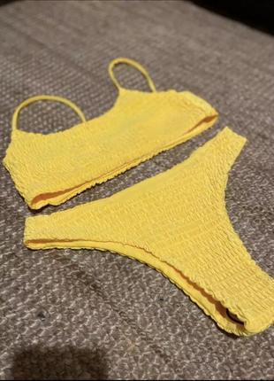 Стильный купальник из жатой ткани, ткань жатка, в рубчик, жатый стиль7 фото