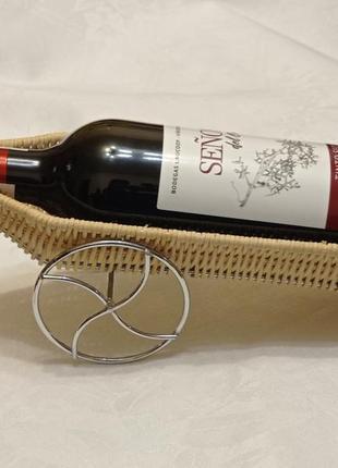 Стильная подставка для вина (на 1 бут) -соломка+нерж.сталь