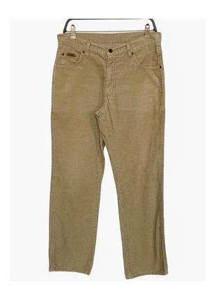 Бежевые вельветовые джинсы wrangler w32/l30 оригинал