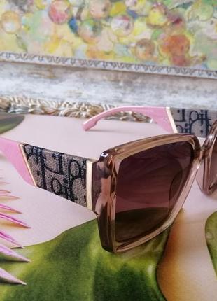 Эксклюзивные брендовые солнцезащитные нюдовые розовые женские очки с поляризацией