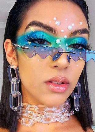 Очки сердечки голубые необычные стильные имиджевые унисекс