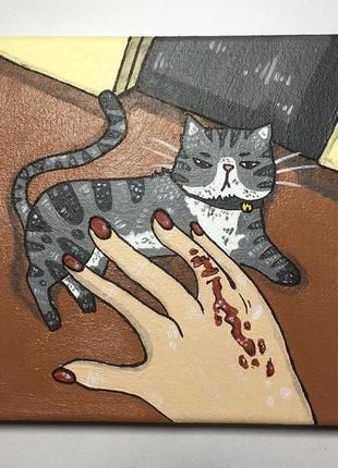 Картина акрил кот