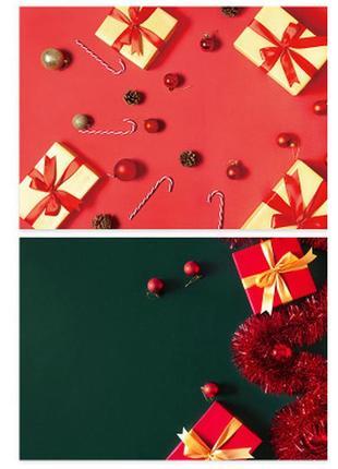 Фотофон однотонный (двухсторонний) фон для съемки фотозона фото подарочный новогодний