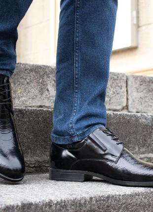 Мужские туфли tapi польские чёрные кожа под крокодила
