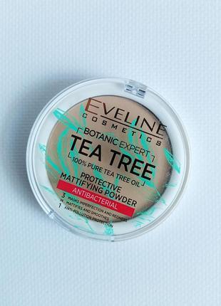 Матирующая антибактериальная пудра для лица eveline botanic expert оттенок 004 beige