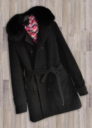 Пальто зимнее черное, можно осень-зима, мех