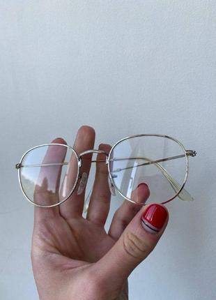 Имиджевые очки / очки в серебряной оправе / очки с прозрачными стеклами