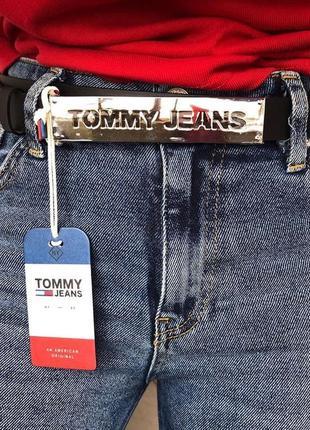Ремень кожаный женский tommy hilfiger jeans оригинал 90 чёрный пояс