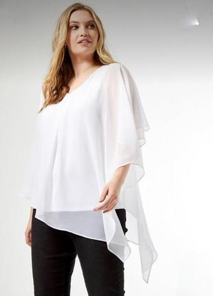 Белая блуза балахон плюс майка  батал