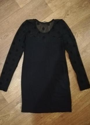 Платье мини чёрное с кружевом в горошек короткое длинный рукав