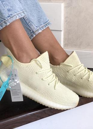 Летние модные женские кроссовки yeezy boost 350 v2,( адидас изи) ,бежевые