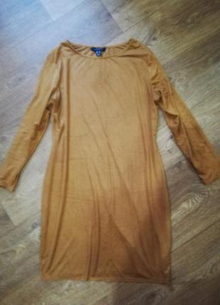 Платье мини замша коричневое длинный рукав короткое