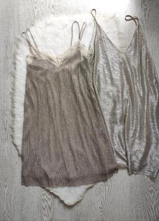 Блестящее короткое платье майка плиссе бежев золотое серебряное гипюр бретел бельевом