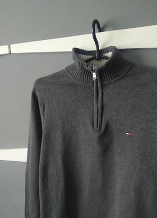 Базовый мужской серый  свитер на замок tommy hilfiger