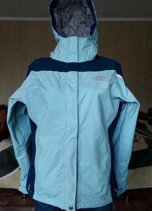 Женская ветровка с мембраной the north face голубая куртка на весну с капюшоном