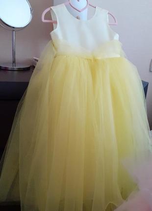 Пышное нарядное платье цвет лимонад.