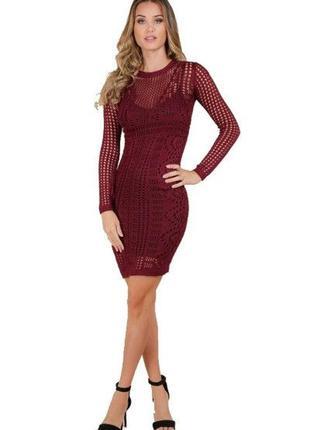 Шикарное кружевное платье-футляр мини длины цвета марсала stradivarius в идеале
