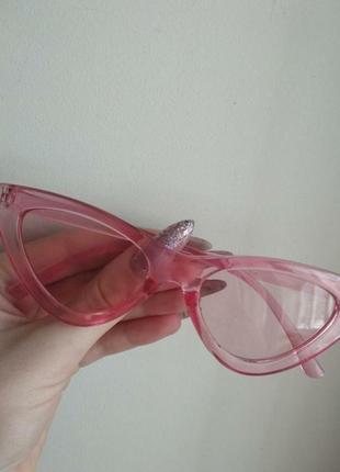 Идеально новые солнцезащитные очки кошечки кошачий глаз розовые летние лисички обмен