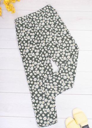Женские двухцветные брюки в цветочный принт