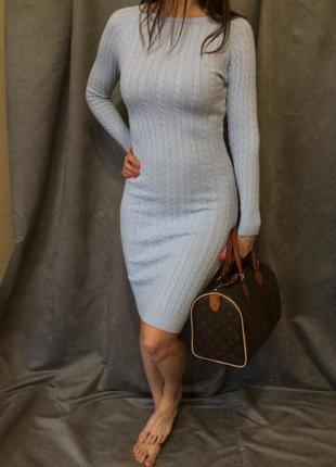 Трикотажное голубое платье с длинным рукавом