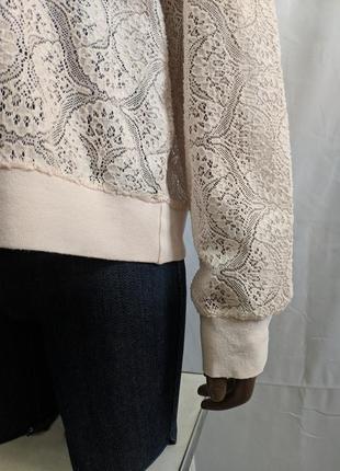 Гипюровый прозрачный свитшот, кофта, реглан, бледно-розовый свитшот6 фото