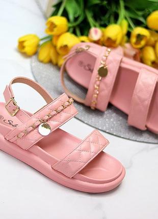 Модные анатомические розовые женские босоножки с золотым декором   код 10170
