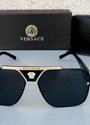 Versace очки маска унисекс солнцезащитные черные с золотом