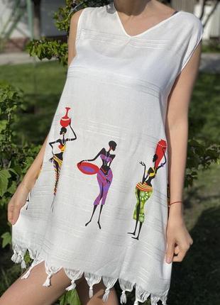 Летнее пляжное платье, туника женская, платье для отдыха, вискоза и хлопок