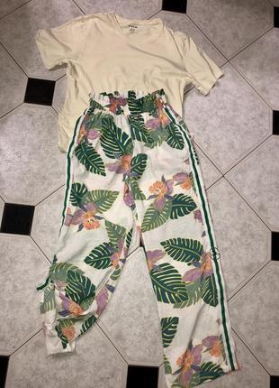 Модные штаны / кюлоты с лампасами в тропический принт/ пальмы 🌴